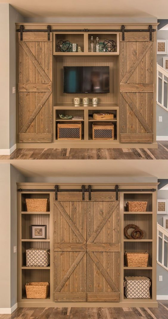 Rustic Sliding bran Doors for an entertainment center.  Love the farmhouse feel, the baskets, the shelves - all of it.