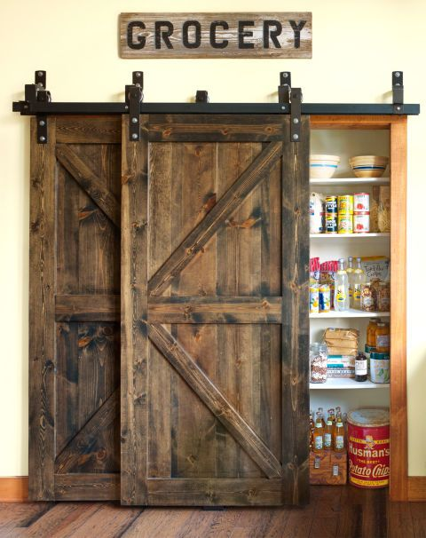 Kitchen pantry doors made with rustic sliding barn doors - looks great!